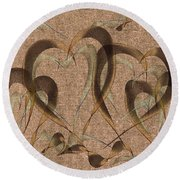 Abstract Floating Hearts Round Beach Towel