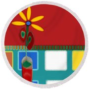 Abstract Floral Art 129 Round Beach Towel