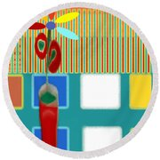 Abstract Floral Art 130 Round Beach Towel