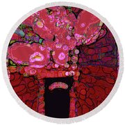 Abstract Floral Art 160 Round Beach Towel