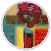 Abstract Floral Art 197 Round Beach Towel