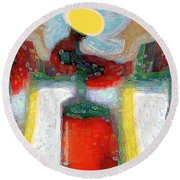 Abstract Floral Art 208 Round Beach Towel