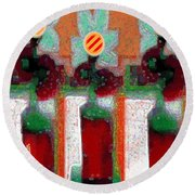 Abstract Floral Art 211 Round Beach Towel