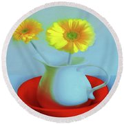 Abstract Floral Art 268 Round Beach Towel