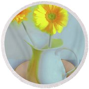 Abstract Floral Art 303 Round Beach Towel