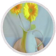 Abstract Floral Art 304 Round Beach Towel