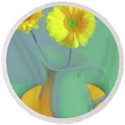 Abstract Floral Art 307 Round Beach Towel
