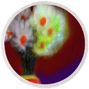 Abstract Floral Art 340 Round Beach Towel