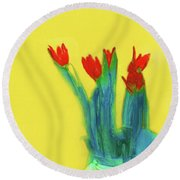 Abstract Floral Art 345 Round Beach Towel