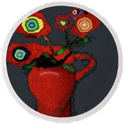 Abstract Floral Art 90 Round Beach Towel