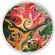 Abstract Floral Design By Irina Sztukowski Round Beach Towel