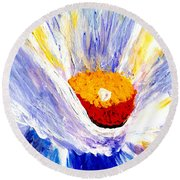 Abstract Floral Painting 001 Round Beach Towel