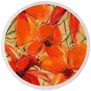 Abstract Floral Two Round Beach Towel