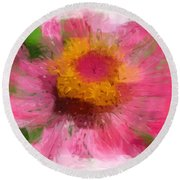 Abstract Flower Expressions Round Beach Towel