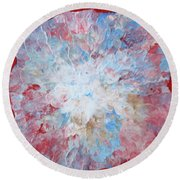 Abstract Flower In Red Surround Round Beach Towel