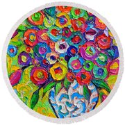 Abstract Flowers Of Happiness Impressionist Impasto Palette Knife Oil Painting By Ana Maria Edulescu Round Beach Towel