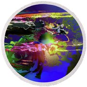 Abstract Flowers Of Light Series #11 Round Beach Towel