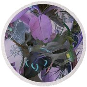 Abstract Flowers Of Light Series #12 Round Beach Towel