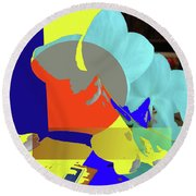 Abstract Flowers Of Light Series #14 Round Beach Towel