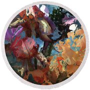 Abstract Flowers Of Light Series #15 Round Beach Towel