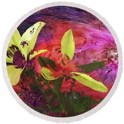Abstract Flowers Of Light Series #16 Round Beach Towel