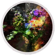 Abstract Flowers Of Light Series #17 Round Beach Towel