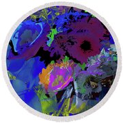 Abstract Flowers Of Light Series #18 Round Beach Towel