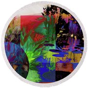 Abstract Flowers Of Light Series #19 Round Beach Towel