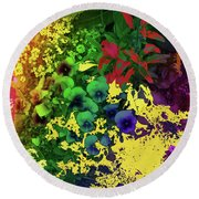 Abstract Flowers Of Light Series #2 Round Beach Towel