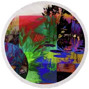 Abstract Flowers Of Light Series #21 Round Beach Towel