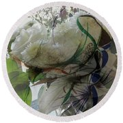 Abstract Flowers Of Light Series #3 Round Beach Towel