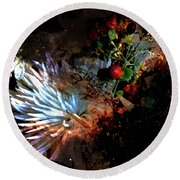Abstract Flowers Of Light Series #5 Round Beach Towel