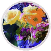 Abstract Flowers Of Light Series #7 Round Beach Towel