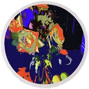 Abstract Flowers Of Light Series #8 Round Beach Towel