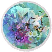 Abstract Flowers Of Light Series #9 Round Beach Towel
