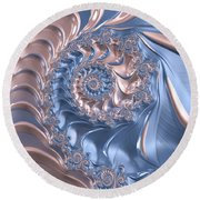 Abstract Fractal Art Rose Quartz And Serenity  Round Beach Towel