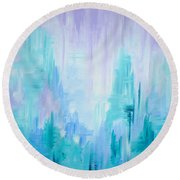Abstract Frost 1 Round Beach Towel