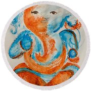Abstract Ganesha Round Beach Towel