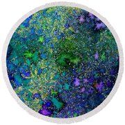 Abstract Garden In Bloom Round Beach Towel by Desiree Paquette