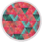 Abstract Geometric Colorful Endless Triangles Abstract Art Round Beach Towel