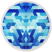 Abstract Geometric Triangle Pattern Futuristic Future Symmetry In Ice Blue Round Beach Towel