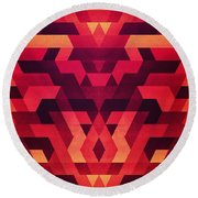Abstract  Geometric Triangle Texture Pattern Design In Diabolic Future Red Round Beach Towel