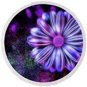Abstract Glowing Purple And Blue Flower Round Beach Towel
