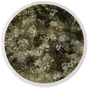 Round Beach Towel featuring the mixed media Abstract Gold Black White 5 by Clare Bambers