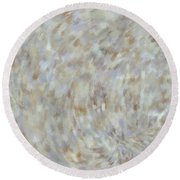Round Beach Towel featuring the mixed media Abstract Gold Cream Beige 6 by Clare Bambers