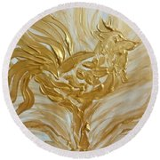 Abstract Golden Rooster Round Beach Towel