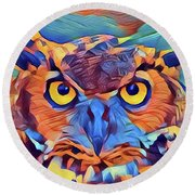 Abstract Great Horned Owl Round Beach Towel by Kathy Kelly