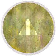 Abstract Green And Gold Triangles Round Beach Towel