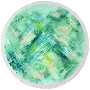 Abstract Green Blue Round Beach Towel