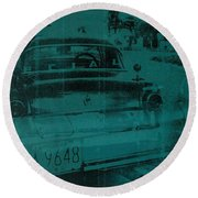 Abstract Green Car Round Beach Towel